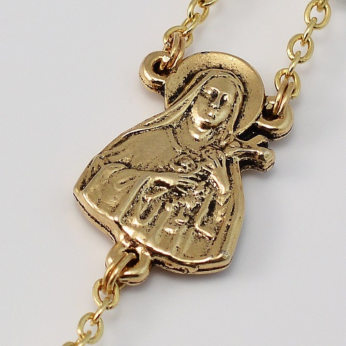 St therese of lisieux gold plated rosary made in italy