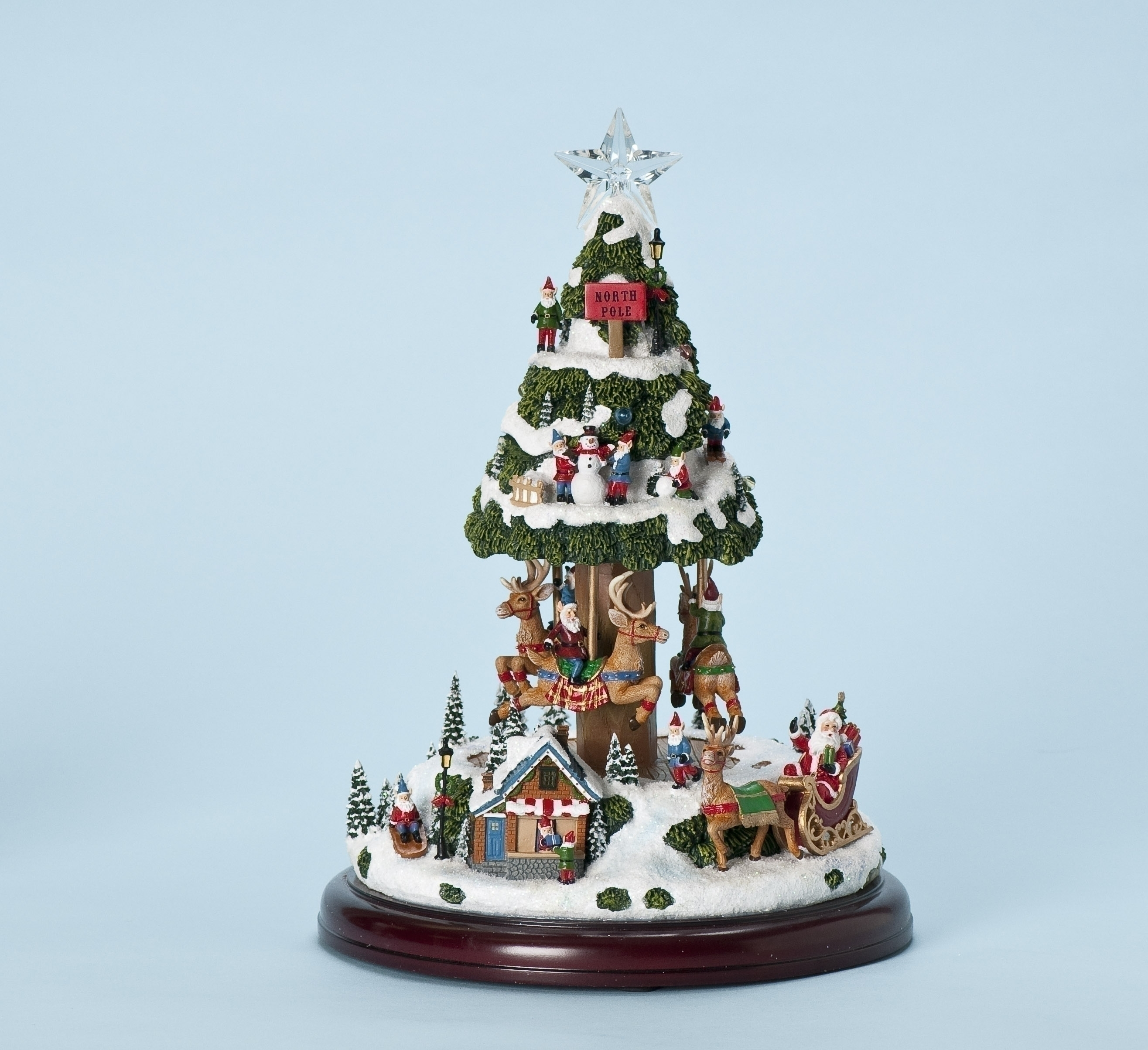 13h musical santas village lighted animated christmas tree - Musical Animated Christmas Decorations