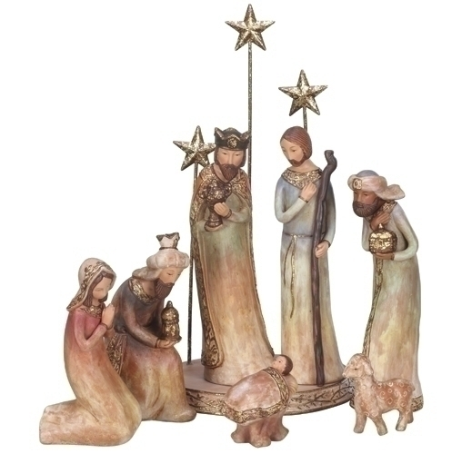 Beautiful pastel terra cotta 8 piece nativity set by roman inc