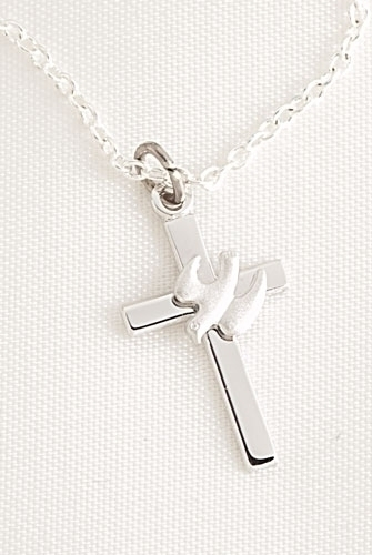 075 sterling silver cross with dove pendant on 18l chain mrs 075 sterling silver cross with dove pendant on mozeypictures Images