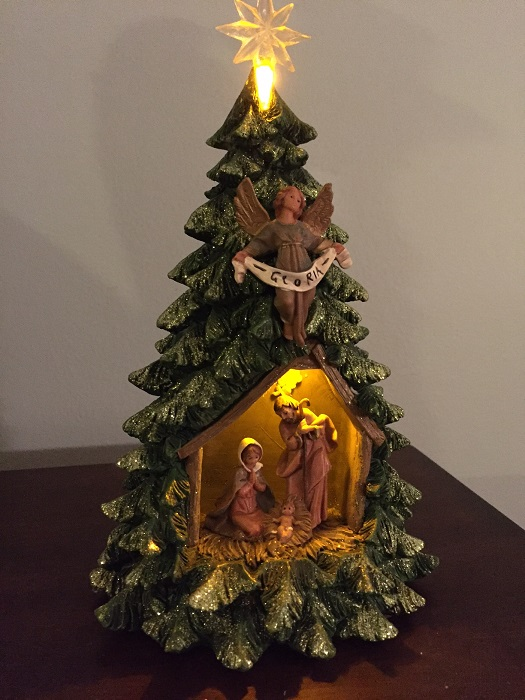 The Christmas Tree 1991.Nativity Gold And Silver Christmas Tree Figurine 21 H