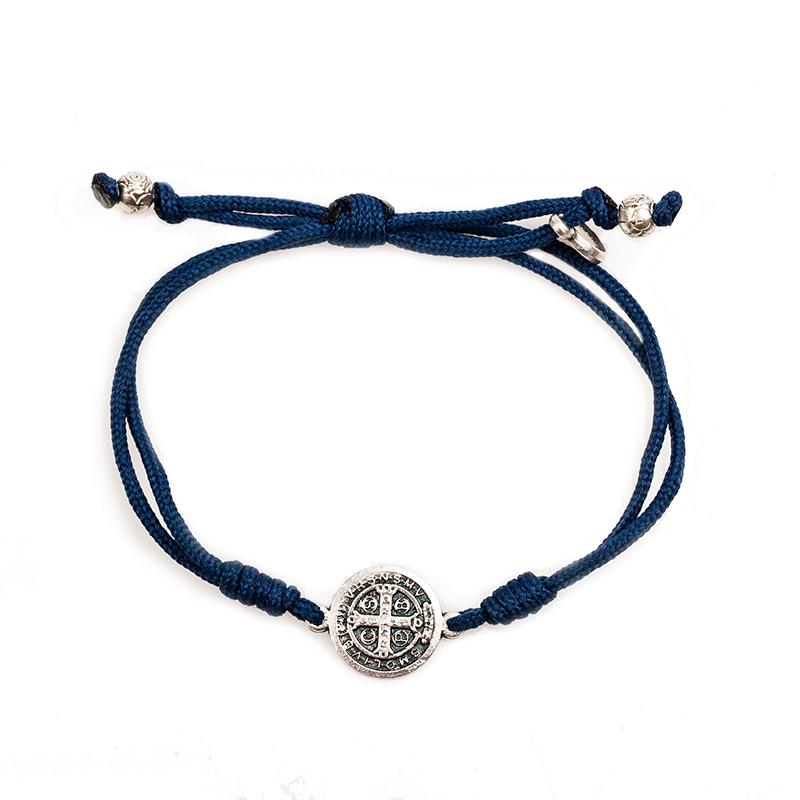 Silver St Benedict Medal Serenity Bracelet